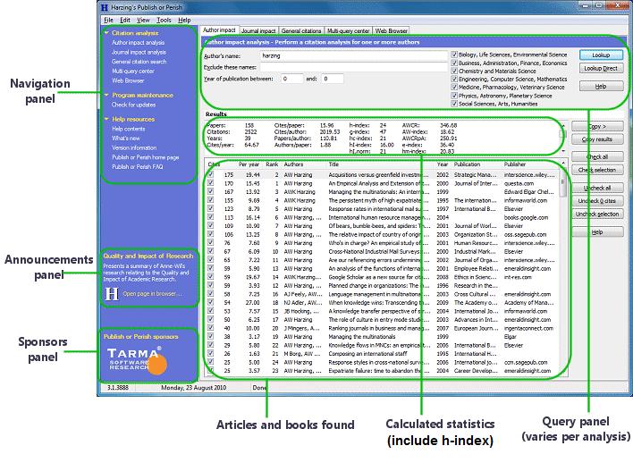 publish pr perish_h index